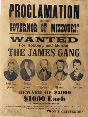 The James Gang Wanted for Robbery and Murder Poster at Circle KB.com All Western Cowboy ...
