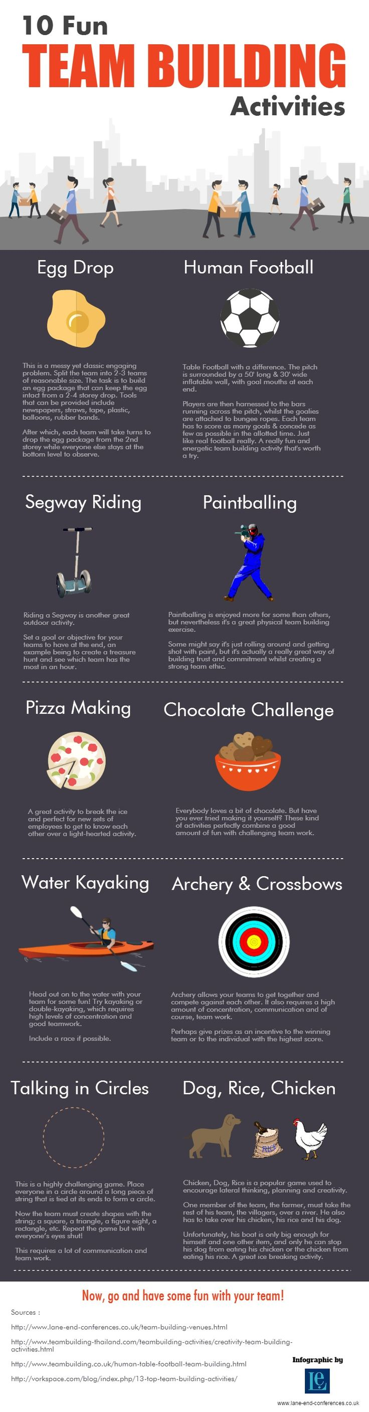 10 Fun Team Building Activities #infographic #TeamBuilding #Work