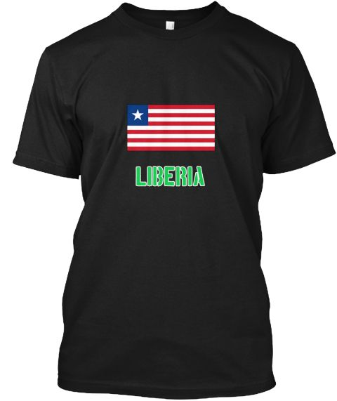 Liberia Flag Stencil Green Design Black T-Shirt Front