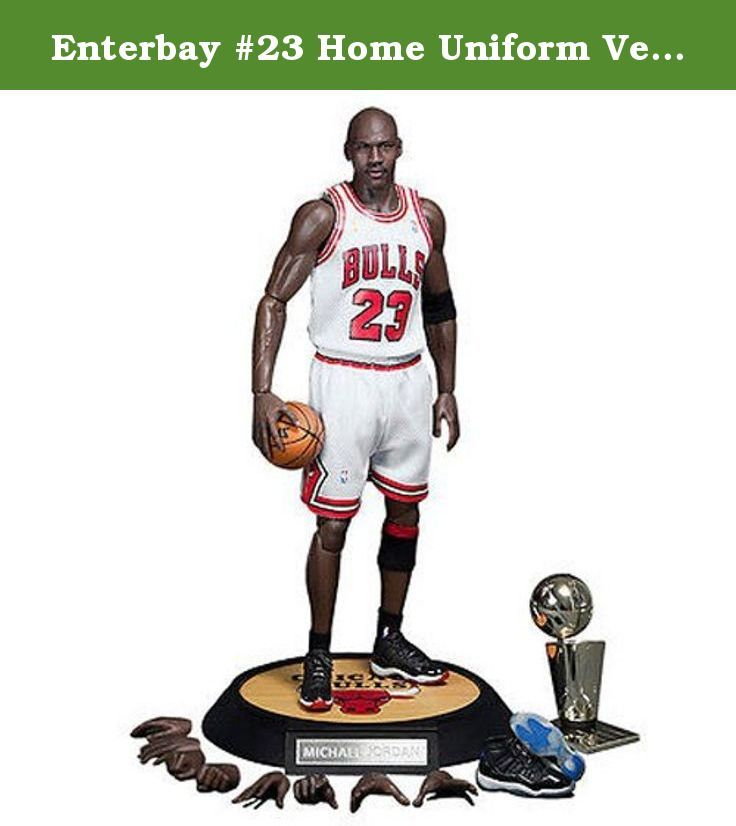 """Enterbay #23 Home Uniform Version Michael Jordan Real Masterpiece Action Figure. • Package includes: - 1 head sculpts of museum-like representation of Michael Jordan with authentic likeness, each with a different facial expression. - The head sculpt is hand-painted with newly developed \""""multi layer\"""" paint application. - Newly developed NBA-MJ body with 30 points of articulation, the height is according to Jordan's actual height, therefore instead of the usual 12"""" figurine, this product…"""