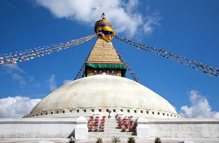 Bodnath stupa in Kathmandu Nepal.