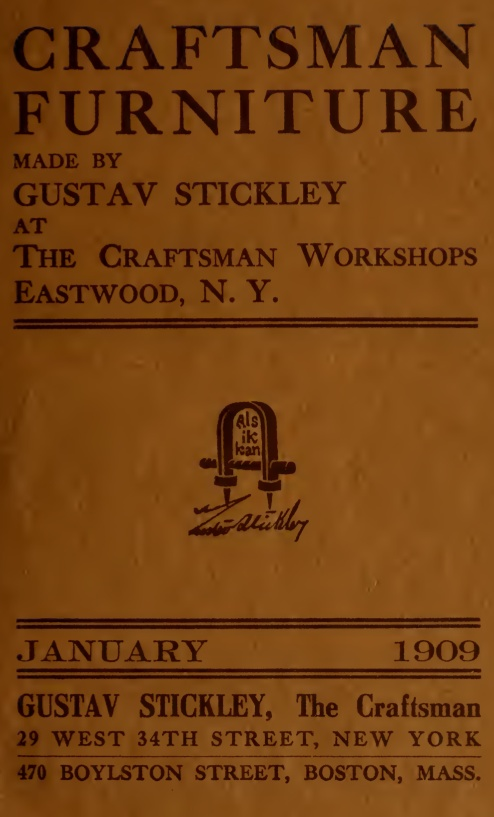 Catalogue of craftsman furniture made by Gustav Stickley at The Craftsman Workshops, Eastwood, N.Y. (1909)