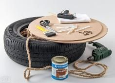 DIY Tutorial Furniture / DIY Tire Ottoman - Bead&Cord