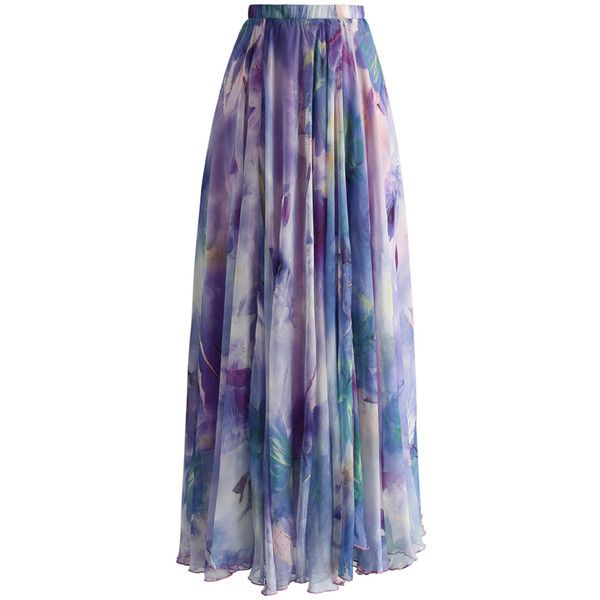Chicwish Dancing Watercolor Floral Maxi Skirt in Violet ($59) ❤ liked on Polyvore featuring skirts, purple, print skirt, long skirts, patterned maxi skirt, maxi skirt and flower print skirt