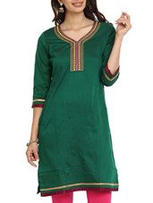 Dark Green  Elegant Straight kurti