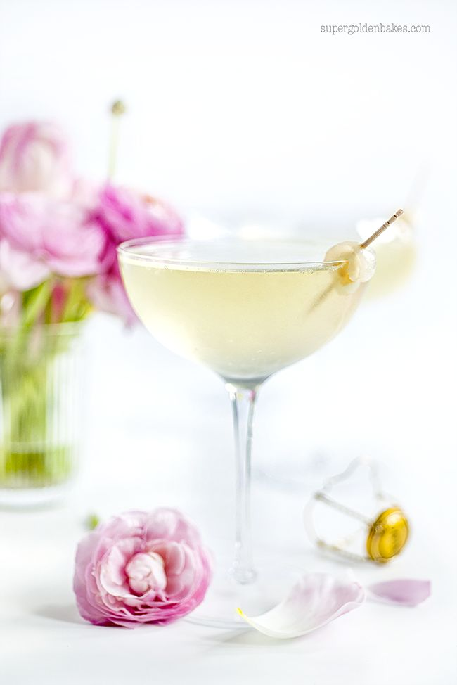 Lychee French 75 Cocktail - gin and prosecco