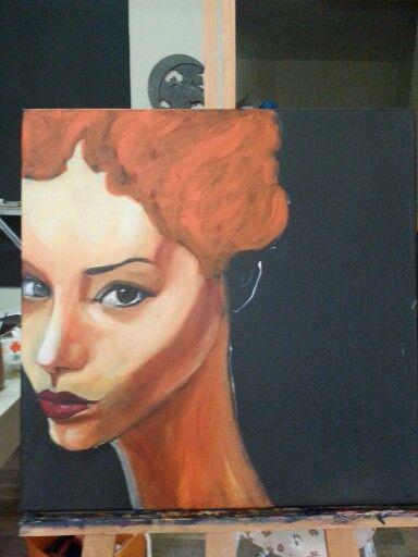 Woman red kadın oilpainting  akrilik