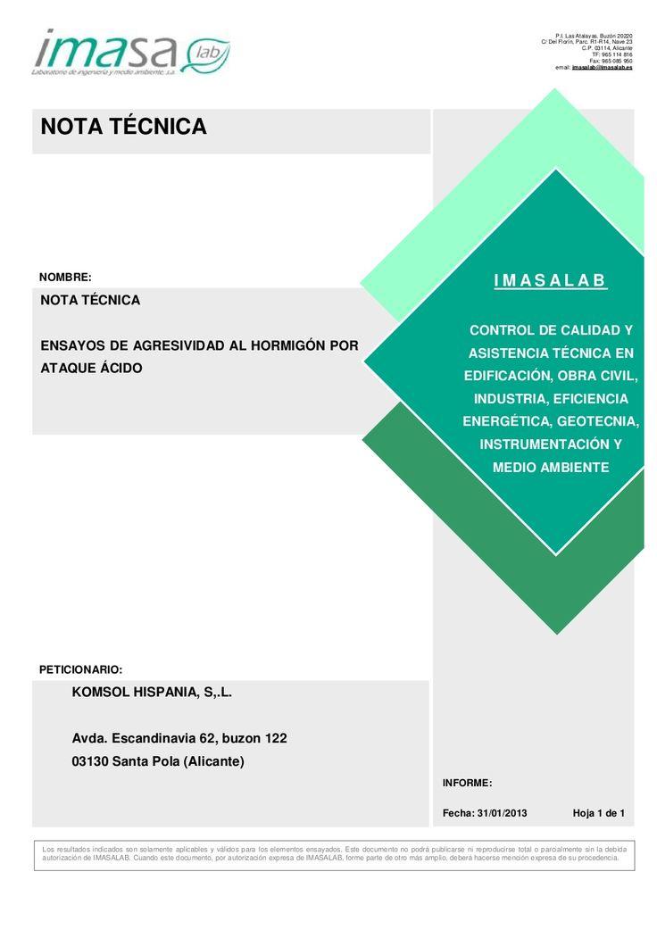 Ensayo ambiente acido en #hormigón #nanocristalizacion by acksol via slideshare