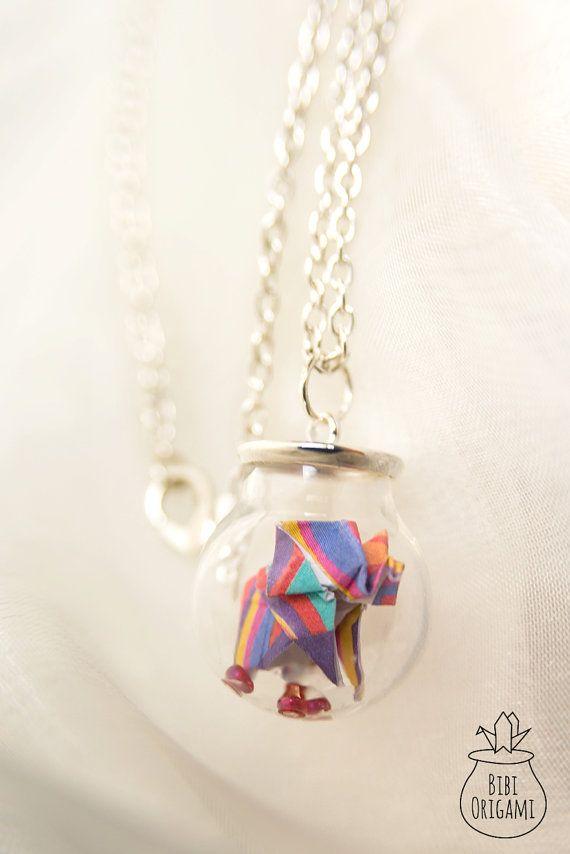Origami Elephant Globe Bottle Pendant Necklace Glass Bottle