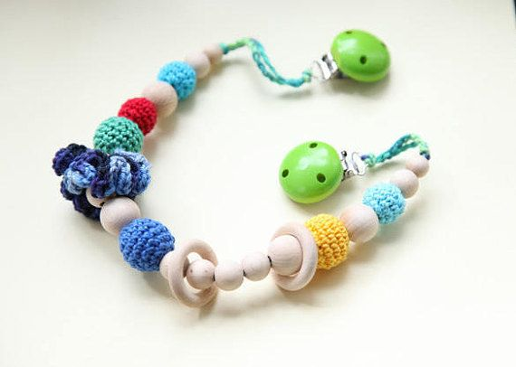 Stroller chain for baby Bright multicolor teether