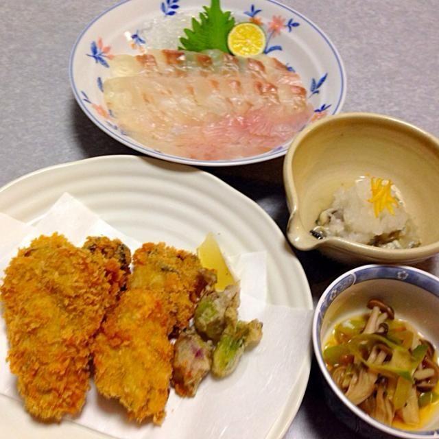 酢牡蠣、 ヒラメの昆布締め、 ブナしめじのおひたし、 カキフライとふきのとうの天ぷら です。 - 19件のもぐもぐ - 牡蠣!美味しい〜(≧∇≦) by orieueki