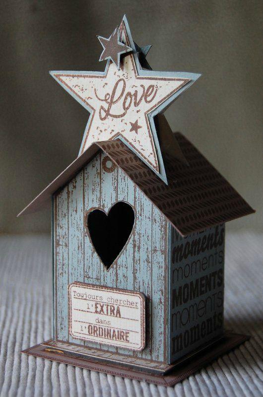 """Tutoriel petite maison """"Love"""" de Sté Créazioni - Florilèges Design : http://florilegesdesign.canalblog.com/archives/2014/11/05/30898280.html"""