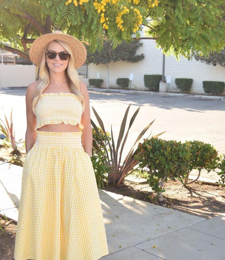 NWT ZARA Yellow Gingham Check Midi Skirt And Crop Top DRESS  Size L #ZARA #BohoChicTunicALineDress #Casual