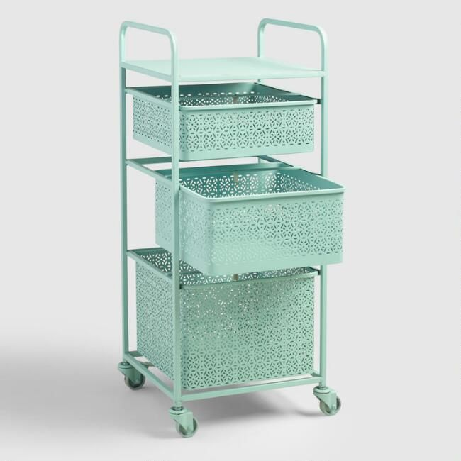 Aqua Blue Metal 3 Drawer Mia Rolling Cart Kitchen