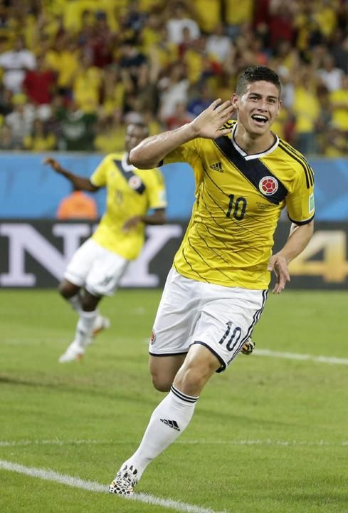 James Rodriguez Colombia | Colombia's James Rodriguez celebrates after scoring his side's fourth ...