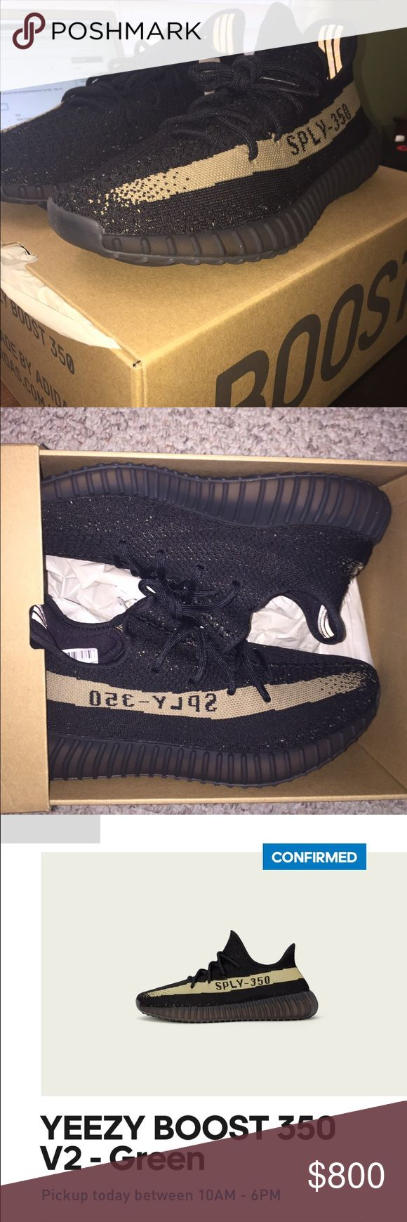 Adidas Yeezy Boost 350 V2 I have a brand new, store bought pair of Green Adidas Yeezy Boost 350. These are the most recent pair, and I got them from reserving on the adidas Confirmed app. I got them November 23, 2016 on release day for their retail price of $220. I have original receipt and box/tags. Everything is brand new. If you having any questions please let me know. The shoes are size 11 and are the GREEN color way. Adidas Shoes Athletic Shoes