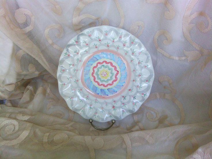 "MacKenzie-childs STOKE GABRIEL 9"" luncheon plate Ruffled edge in great shape"