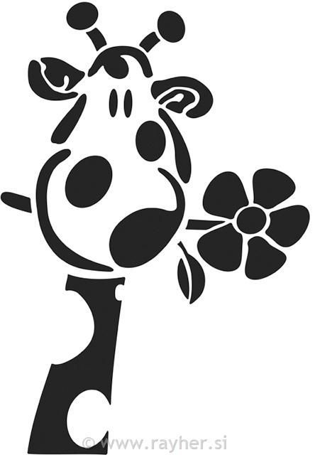 giraffe with a flower: