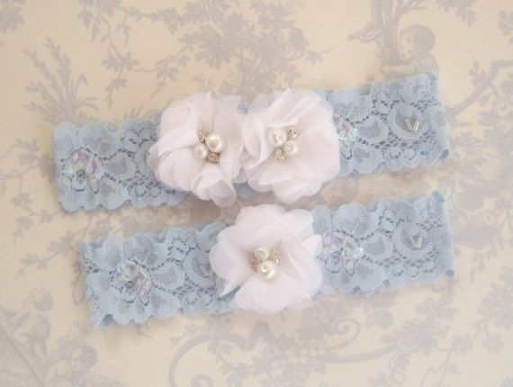 Wedding Garter Blue Set With Toss In Something And White Bridal Chiffon Blossoms Pearls Rhinestones