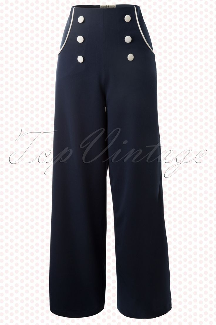 Collectif Clothing - 30s Bernadette Sailor Trousers Navy