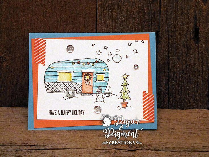 Christmas  Card using Stampin Up Glamper Greetings  Stamp  Set