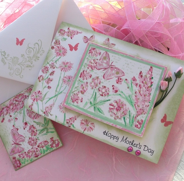 Mothers Day Card and Gift Tag - Painted Pink Butterfly Garden £2.75