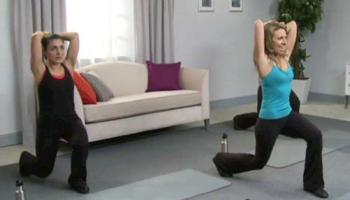 lunge with triceps exercise to target post pregnancy pooch