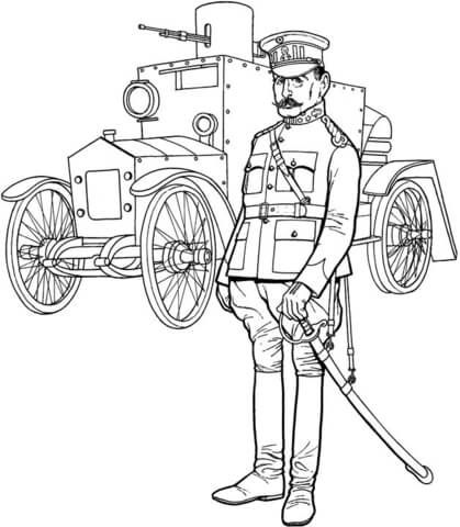 ww1 general officer and tank coloring page - Geography Coloring Book