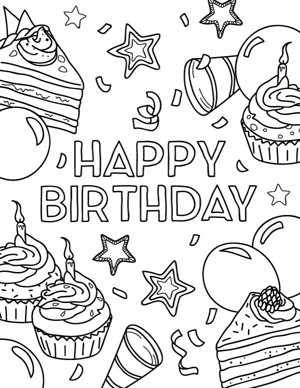 Free printable Happy Birthday coloring page. Download it ...