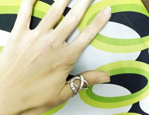 Thumb Ring Wide Band Sterling Silver Knot by BonTonContemporary