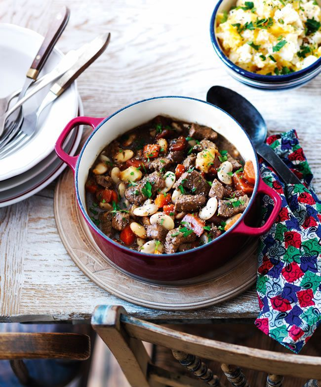 Hearty beef stew with beans