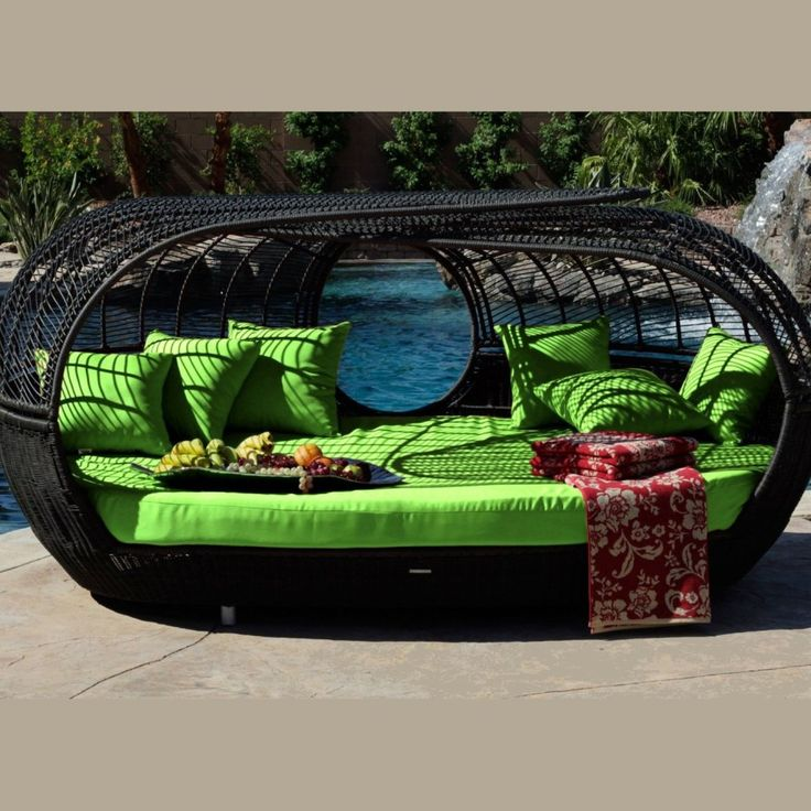 Freestanding Oval Wicker Rattan Black Outdoor Garden Patio Sofa Bed Come  With Lime Green Fabric Cool Sofa Bed Pad With Lime Green Cushions. Better  Homes ...