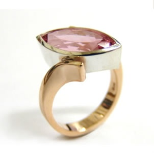 9ct gold, sterling silver and pink tourmaline ring made at Cameron Jewellery