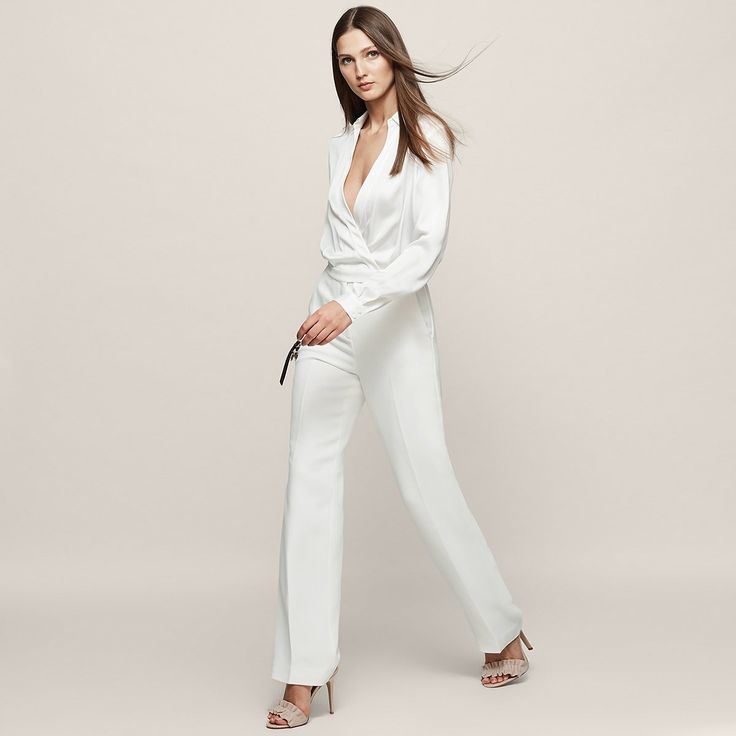 Imie Off White Wrap-Front Jumpsuit - REISS
