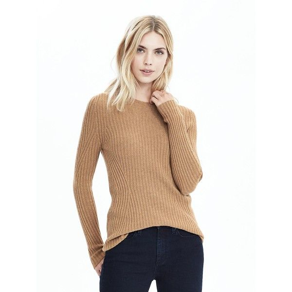 Banana Republic Womens Italian Cashmere Blend Seamless Ribbed Crew ($88) ❤ liked on Polyvore featuring tops, sweaters, camel, cashmere blend sweater, crew top, rib sweater, long sleeve crew neck sweater and long sleeve tops