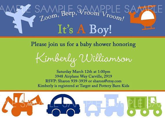 TRANSPORTATION Baby Shower Or Birthday Invitation Car Truck Train Airplane Helicopter