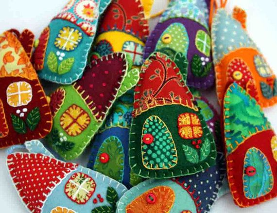 Felt Christmas decorations, Colourful house ornaments, patchwork , Christmas cottage, Holiday decor