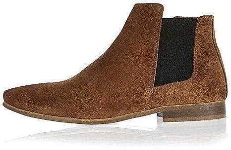 $120, River Island Brown Suede Smart Chelsea Boots. Sold by River Island. Click for more info: https://lookastic.com/men/shop_items/342874/redirect