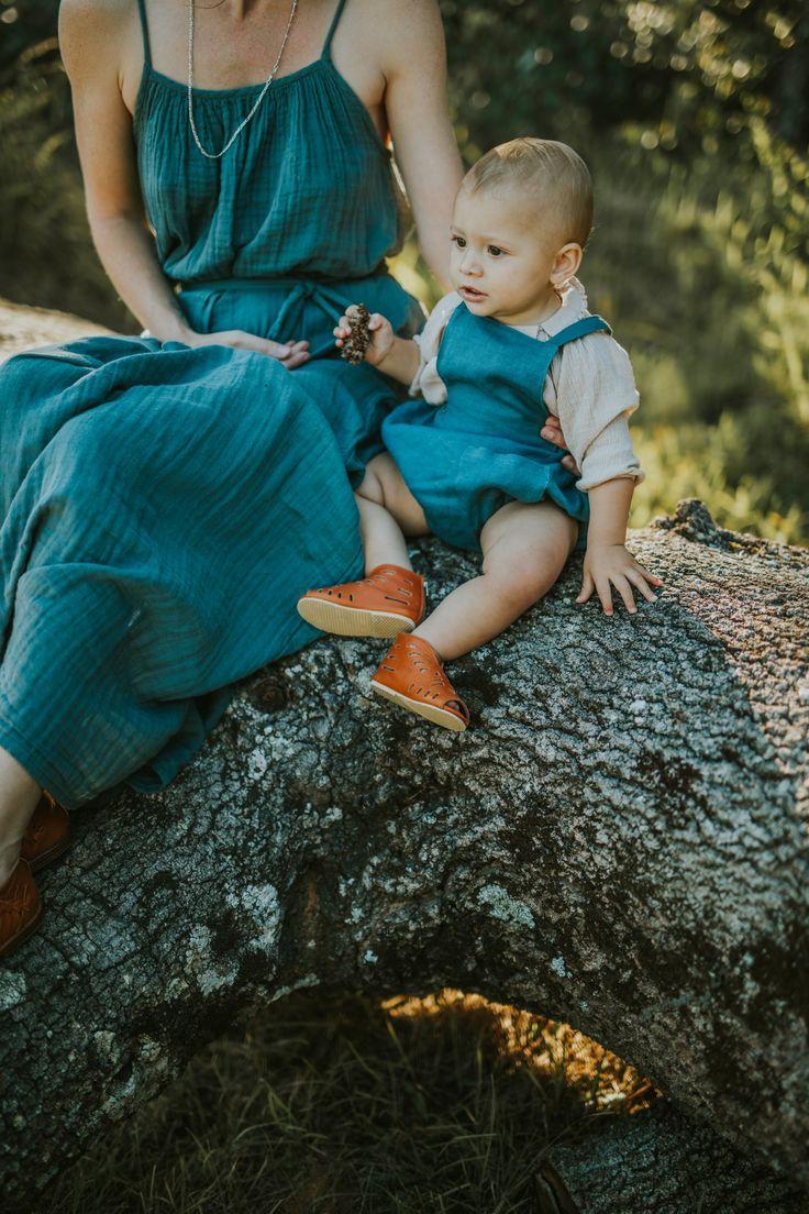 Mia Dress in Ice Blue & Oona Romper in Spruce