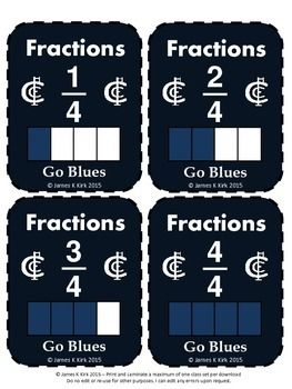 Fractions Fun! Fractions: Here are some printable fractions cards (Aussie Rules - Carlton Style) which are great for any math centers: Fraction Cards (Double)Fraction Cards (Double)Fraction Cards with image and written fraction52 fraction flash cards   - 1 fraction image and written fraction per card (Double the value)  - 4 cards per A4 Sheet    - Suitable to print and laminate in black and white   (We also have a color version to download)Designed specifically for year level 3-5 learners…