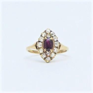 Art Deco Ruby and Diamond Cluster Ring Circa 1920