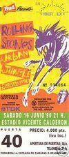 Entradas de conciertos: THE ROLLING STONES,16 de Junio de 1990 Madrid Estadio Vicente Calderón