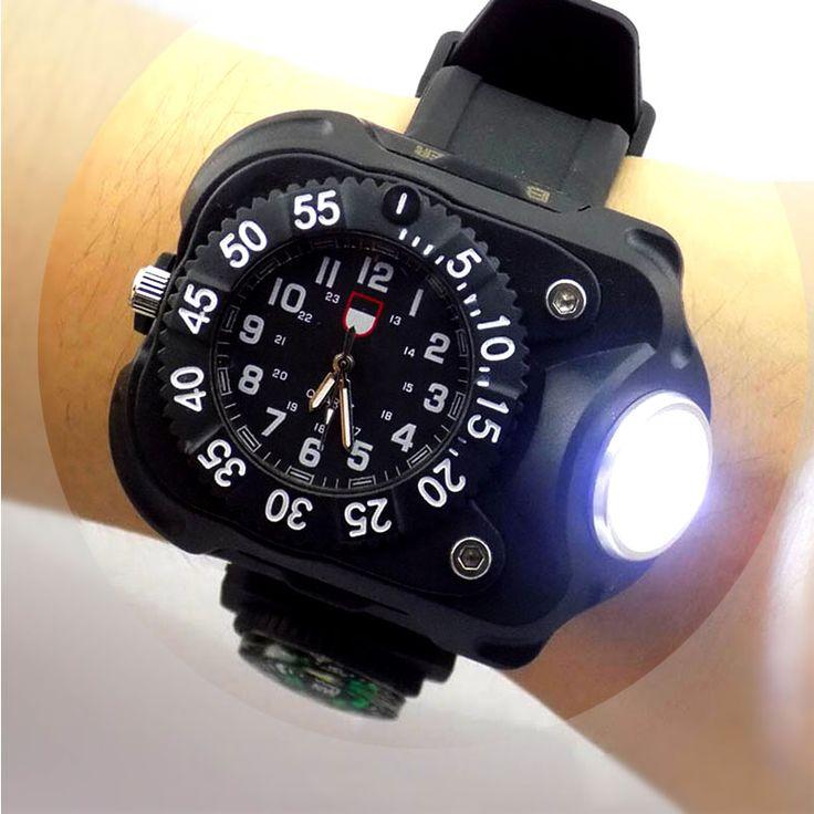 3 en 1 reloj de luz brillante linterna con brújula deportes al aire libre para hombre reloj de pulsera de moda a prueba de agua led recargable antorcha lámpara