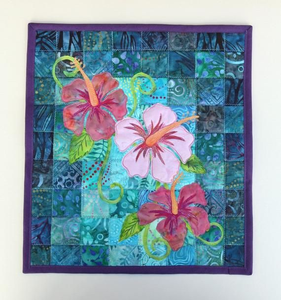 Batik Hibiscus Quilted Wall Hanging Art Quilt Pattern Or Kit By Pingwynny Quilted Wall Hangings Flower Quilts Hanging Quilts