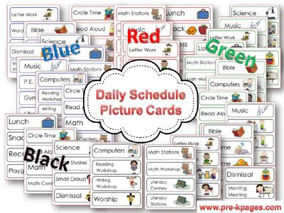 Printable picture schedule cards for preschool and kindergarten via www.pre-kpages.com: Preschool Schedule Cards, Prek Schedule, Teaching Kindergarten, Picture Schedule, Visual Schedule, Sched Cards, Picture Cards, Communication Cards, Routine Cards
