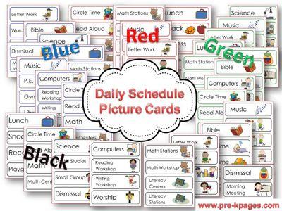 Printable picture schedule cards for preschool and kindergarten via www.pre-kpages.comTeaching Kindergarten