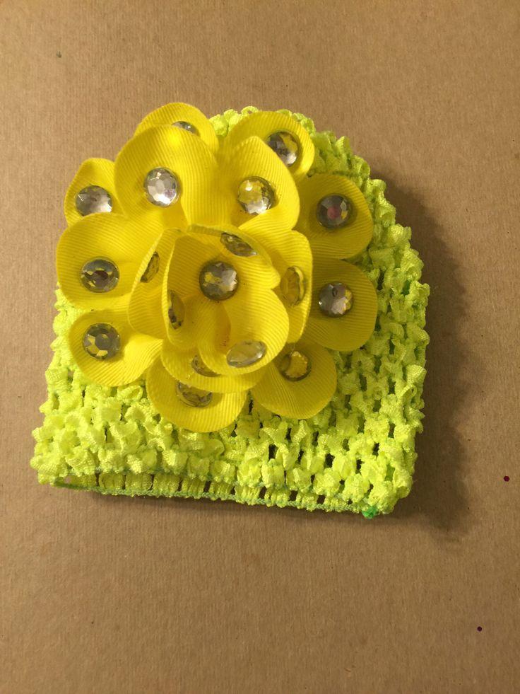 Bright neon yellow baby girl hospital newborn hat 03