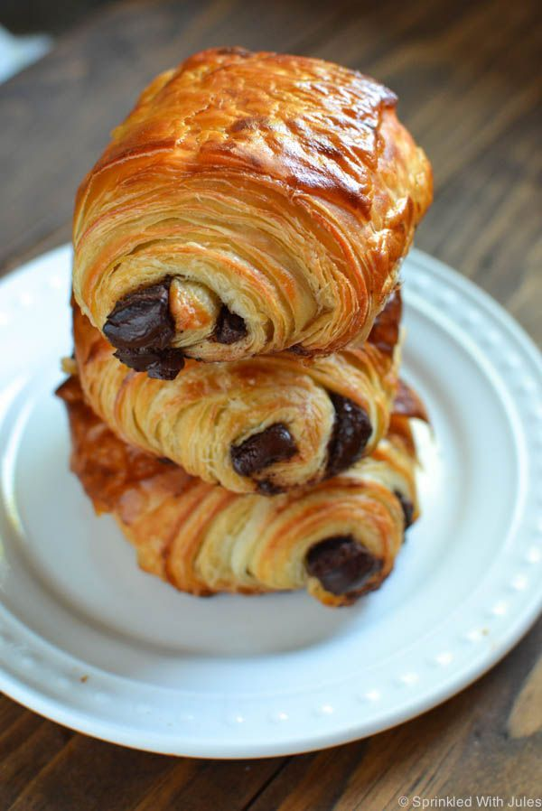 "Flakey, buttery, delicious croissant dough filled with melty dark chocolate. A foolproof recipe for homemade ""Pain Au Chocolat"". More"