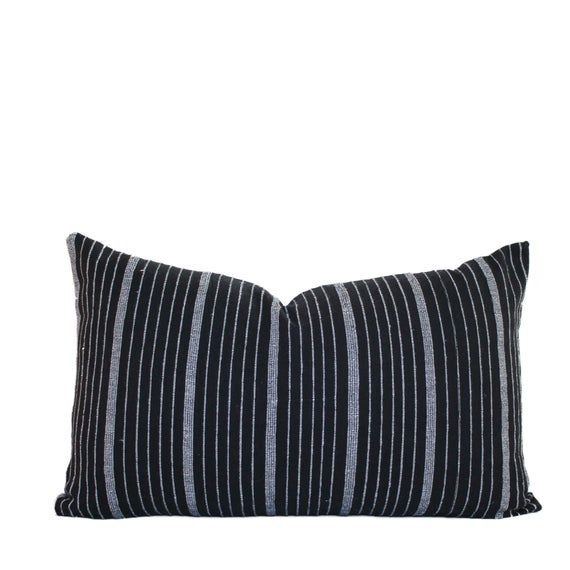 Striped Black & White Faux Suede Pillow
