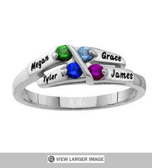 Sterling Silver Alternating Birthstone Mother's Ring - Personalized. Sale price: $190.00